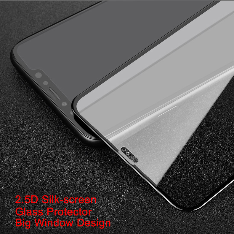 2.5D silk print anti-dust tempered glass screen protector For iPhone X