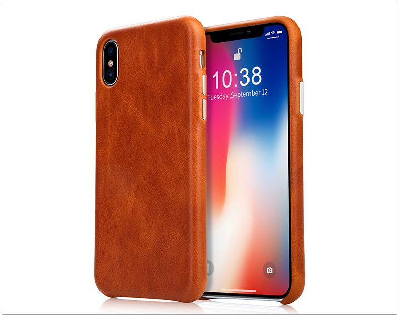 Luxury Real Genuine Leather Mobile Cell Phone Cover Case For iPhone X